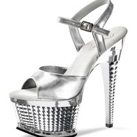 """6.5"""" Ice Queen Chrome Heel - UP TO SIZE 12"""