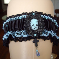 Gothic Victorian Style Skeleton Cameo Garter With Cross Bridal Black And Blue Wedding Bride Garter Cosplay