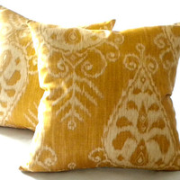 IKAT Gold  Print Pillow Cover 16x16