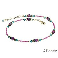Blue Zircon Pink Crystal Beaded Anklet