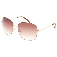 Blue Crown Square Aviator Sunglasses Gold One Size For Women 25384262101