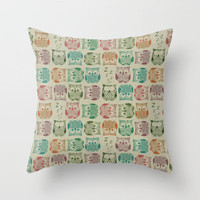vintage sherbet owls Throw Pillow by Sharon Turner | Society6