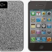 Case-Mate Silver Glitter Coated Glam Case for iPhone 4 4S