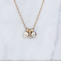 Tiny Diamond Lotus Necklace - 14k Gold Petal Necklace  - Gold Charm Necklace