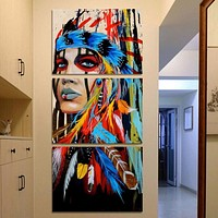 3 Piece Young Girl On Canvas Feather Woman Painting Wall Decor