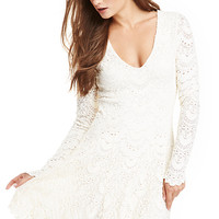 DailyLook: Nightcap Spanish Lace Deep V Fit & Flare Dress in Cream 2 - 3