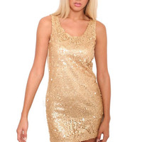 Litzy Sleeveless Sequin Front Short Tunic Dress in Gold