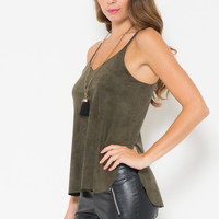 Micro Suede Side Cut Out Top - FINAL SALE