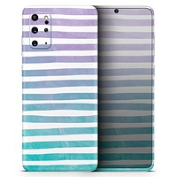Purple to Green WaterColor Ombre Stripes - Skin-Kit for the Samsung Galaxy S-Series S20, S20 Plus, S20 Ultra , S10 & others (All Galaxy Devices Available)