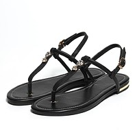 Women T Straps Buckle Genuine Leather Flip Flops Flat Sandals 3156