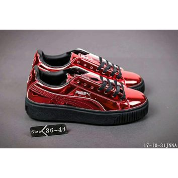 Puma Rihanna Mirror surface Creeper Comfort Stylish Fashion Unisex Shoes Thick Crust Couple Shoes Sports Sneakers Red I-HAOXIE-ADXJ