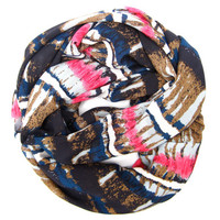 Striped Abstract Infinity Scarf Endless Loop Scarf Navy Blue Light Blue White Pink Brown Circle Scarf Women Teen Fashion Accessories