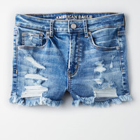 AE Denim X Super High-Waisted Short Short, Blues Spark