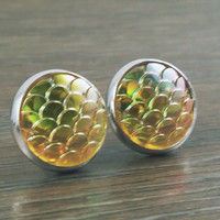 Mermaid Scales- ab Yellow mermaid/ dragon scale earrings
