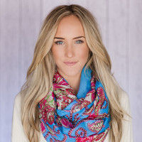 Infinity Scarf - Blue Paisley Loop Crinkled Infinity Indian Summer Scarf Chunky Infinity Scarf Women's Fashion Accessories
