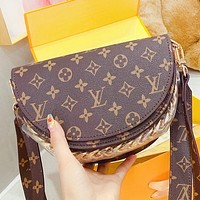 LV New fashion monogram print leather handbag backpack bag book bag Coffee