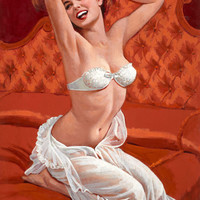 Pin-Up Girl Wall Decal Poster Sticker - Boudoir Pin Up - Red Hair Redhead Pinup Pin Up