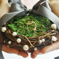 Ring bearer pillow Rustic bird nest ring pillow Rustic ring box Rustic wedding nest pillow Woodland ring holder Moss nest ring pillow MUSE