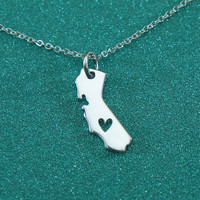 1pc 2016 new Gold  silver CA State Necklace With A Heart California State Charm Necklace CA State Shaped Necklace for Women N189