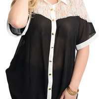 Black White Plus Size Chic Sheer Chiffon Lace Button-Front Top