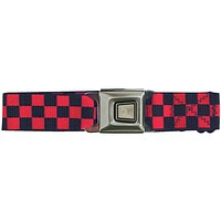 Ford Burst Seatbelt - Checkered Red Web Belt