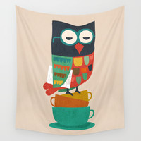 Morning Owl Wall Tapestry by Budi Kwan