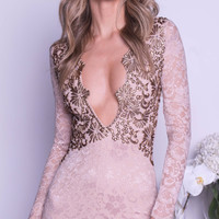 HAVEN LACE DRESS IN NUDE WITH GOLD