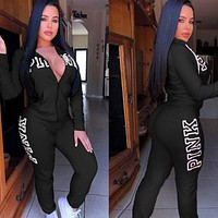 Victoria's secret PINK Fashion Sport Cardigan Jacket Coat Pants Sweatpants Set Two-Piece Sportswear Black