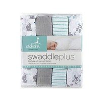 aden® by aden + anais® Baby Star 4-Pack Muslin swaddleplus® Blankets in Green/Grey