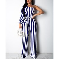 One shoulder striped jumpsuits for women Sashes long sleeve rompers womens jumpsuit Summer wide leg pants Wrap maxi overall