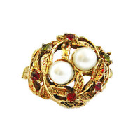 Bird Nest Ring, With Pearls And Colored Rhinestones, Gift For Her