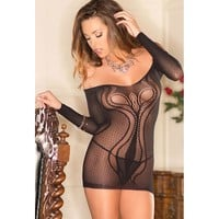 Sexy Hot Deal Cute On Sale Hollow Out Bra Long Sleeve Transparent Lingerie Sleepwear Exotic Lingerie [6596899779]