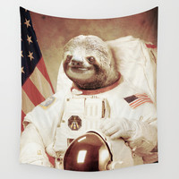 Sloth Astronaut Wall Tapestry by Bakus