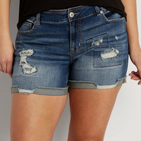 plus size boyfriend shorts with lined destruction | maurices