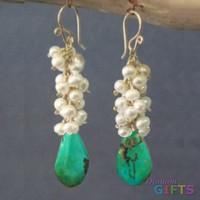 "Clusters of ivory pearls and sleeping beauty turquoise, 1-1/2"" Earring Gold Or Silver"
