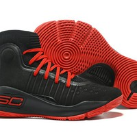 HCXX Men's Under Armor Curry 4 Basketball Shoes Black Red 40-46