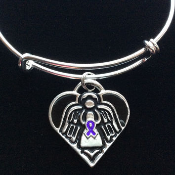 Guardian Angel Protect Me Purple Awareness Ribbon Expandable Charm Bracelet Adjustable Silver Wire Bangle Trendy Gift