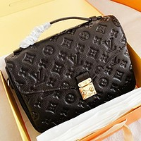 LV New fashion monogram print leather high quality shoulder bag crossbody bag handbag Black