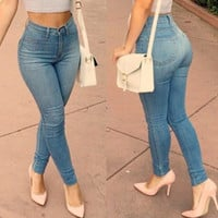 Blue High-Waisted Skinny Jeans