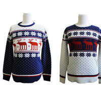 Petite Couple Navy or Ivory Reindeer Pattern Knit Sweater