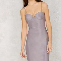 Rare London Monroe Midi Bodycon Dress - Silver
