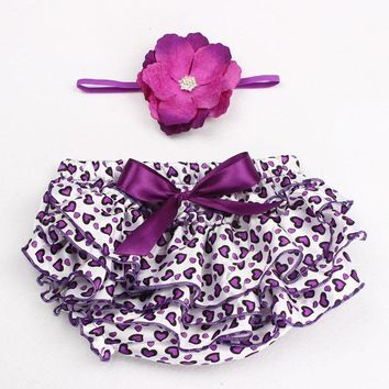 Satin Floral Silk Bow Girl Tutu Ruffled Panties Infant Shorts diaper covers bloomers with  Matching Headband Set baby PP Skirt