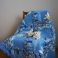 Blue Patchwork Quilt, Lap Quilt, Single Bed Quilt, Summer Blooms Quilt, Toddlers Patchwork Blanket, Colourful Floral Quilt,