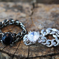Glamorous Chain Ring Crystal Jewelry Unique Ring Celebration Gift Idea Color Select 1piece Black Clear