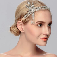 2016 The Great Gatsby Wedding Bridal Crown Beaded Crystal Pearl Princess Sparkling Party Wedding Hair Accessories Velos De Novia