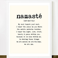 Namaste - 8x10 inches on A4. Inspiring spiritual quote typography art poster print.