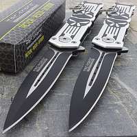 "TWO 8.25"" PUNISHER STILETTO SPRING ASSISTED TACTICAL KNIFE Folding Blade Pocket"