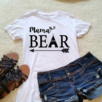 Mama bear quote t-shirt in white size s, med, large, and Xl for ladies and women