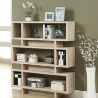 """Natural Reclaimed Look 55""""H Modern Bookcase (NATURAL RECLAIMED-LOOK) (55.00H x 47.00W x 12.00D)"""