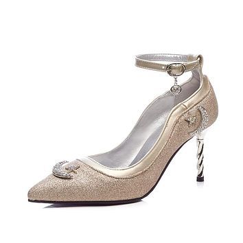 Ankle Strap Pointed Toe Rhinestone High Heel Pumps Shoes Woman 2997